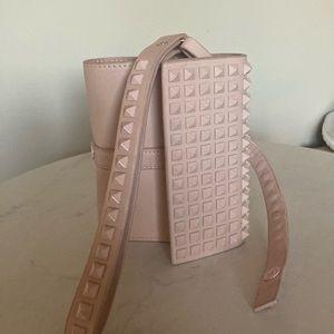 Zara genuine leather spiked/studded purse clutch